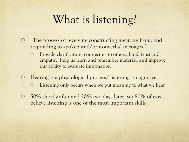 listening and responding This slideshow was created to accompany the fifth chapter of communicate by kathleen s verderber, rudolph f verderber and deanna d sellnow publisher: w.
