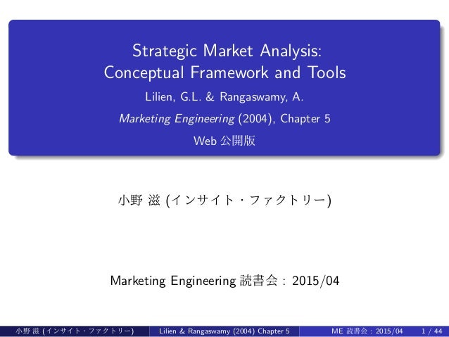 . ...... Strategic Market Analysis: Conceptual Framework and Tools Lilien, G.L. & Rangaswamy, A. Marketing Engineering (20...