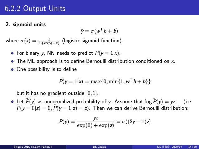 6.2.2 Output Units 2. sigmoid units ˆy = σ(w⊤ h + b) where σ(x) = 1 1+exp(−x) (logistic sigmoid function). For binary y, N...