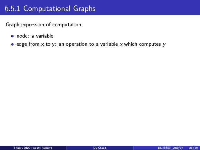 6.5.1 Computational Graphs Graph expression of computation node: a variable edge from x to y: an operation to a variable x...