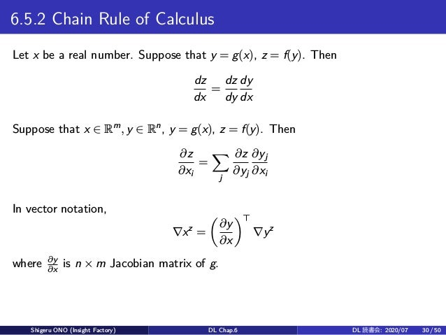 6.5.2 Chain Rule of Calculus Let x be a real number. Suppose that y = g(x), z = f(y). Then dz dx = dz dy dy dx Suppose tha...