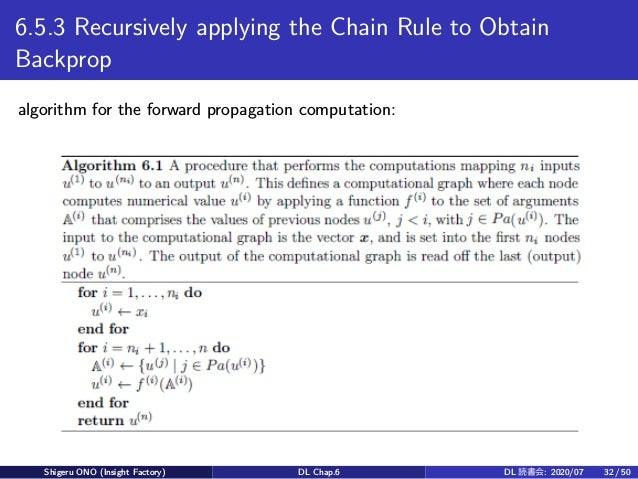 6.5.3 Recursively applying the Chain Rule to Obtain Backprop algorithm for the forward propagation computation: Shigeru ON...