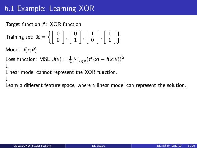 6.1 Example: Learning XOR Target function f∗ : XOR function Training set: X = {[ 0 0 ] , [ 0 1 ] , [ 1 0 ] , [ 1 1 ]} Mode...
