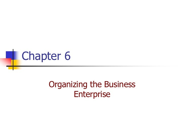 Chapter 6    Organizing the Business          Enterprise
