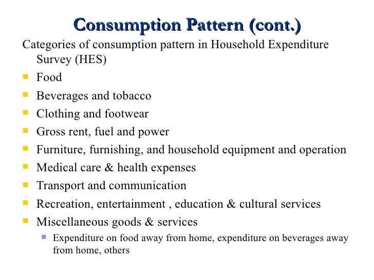 Consumption Pattern And Expenditure Custom Consumption Patterns