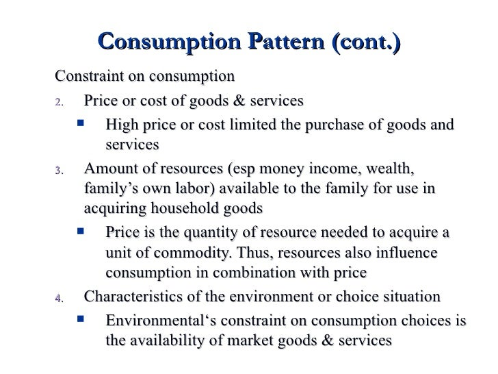 Consumption Pattern And Expenditure New Consumption Patterns