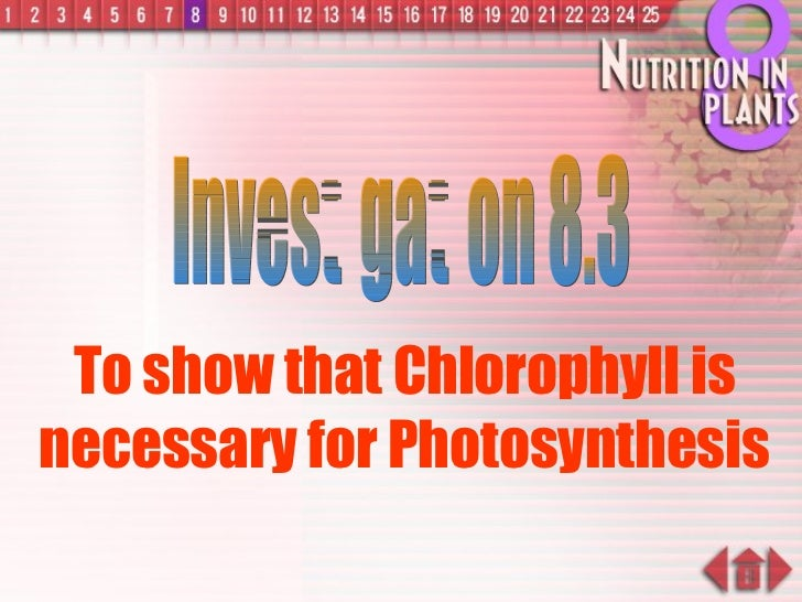 To show that Chlorophyll is necessary for Photosynthesis Investigation 8.3