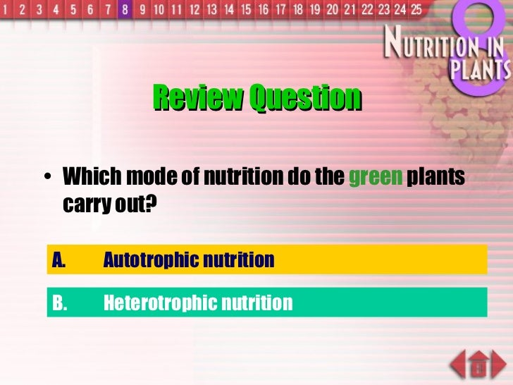 Review Question <ul><li>Which mode of nutrition do the  green  plants carry out? </li></ul>A. Autotrophic nutrition B. Het...