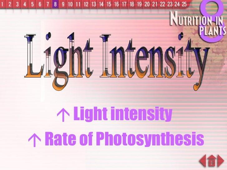 <ul><li>   Light intensity  </li></ul><ul><li>   Rate of Photosynthesis </li></ul>Light Intensity