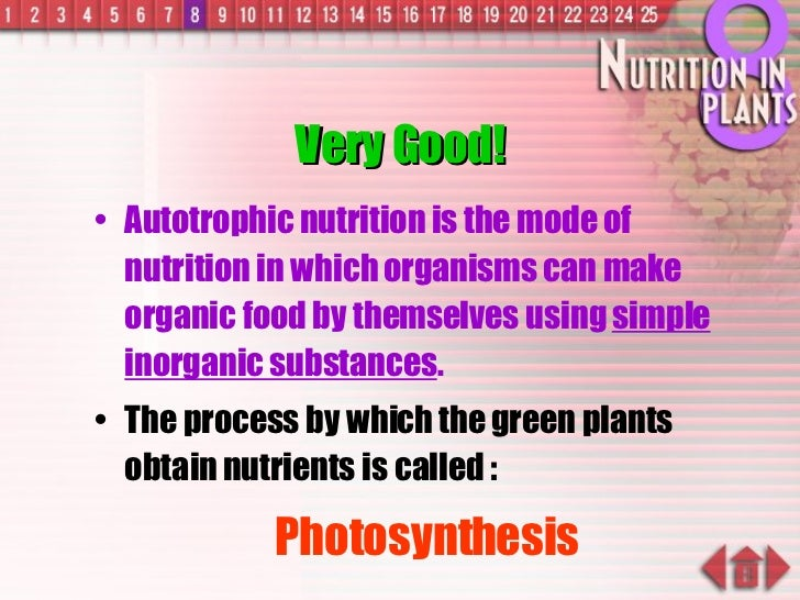 Very Good! <ul><li>Autotrophic nutrition is the mode of nutrition in which organisms can make organic food by themselves u...