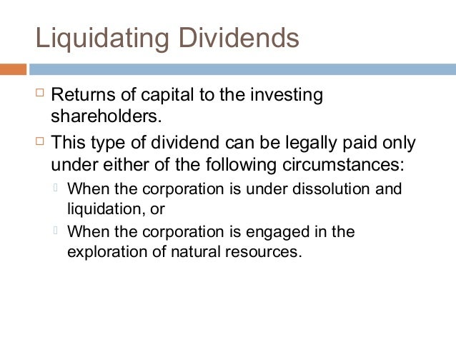 Liquidating dividends examples