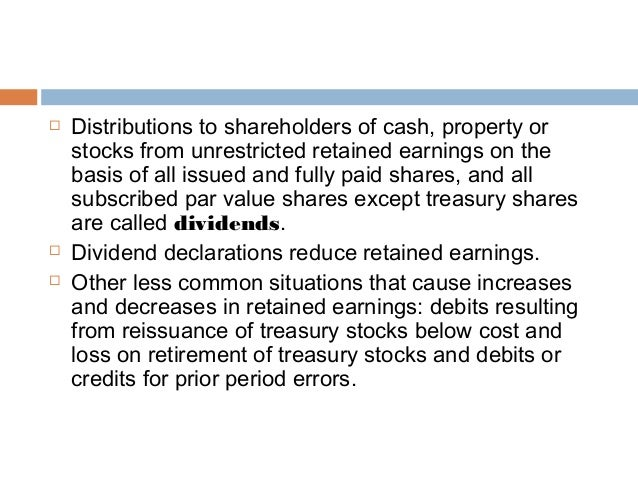 Liquidating dividends affect on retained earnings