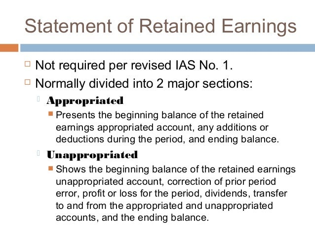 Retained earnings – Statement of Retained Earnings Sample