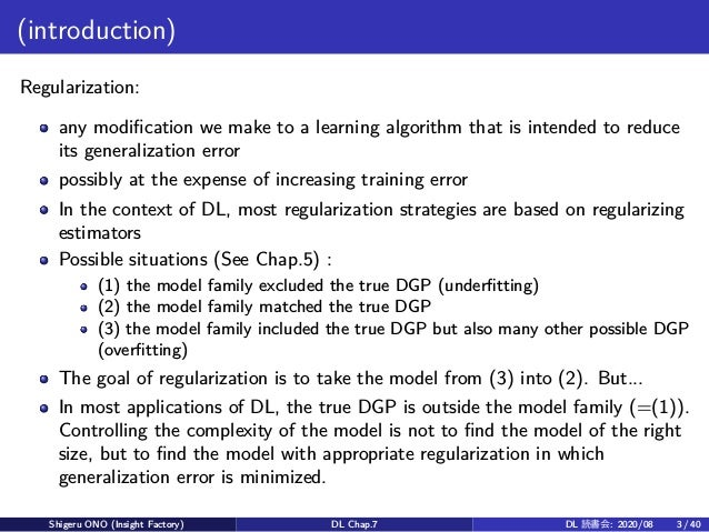 (introduction) Regularization: any modification we make to a learning algorithm that is intended to reduce its generalizat...