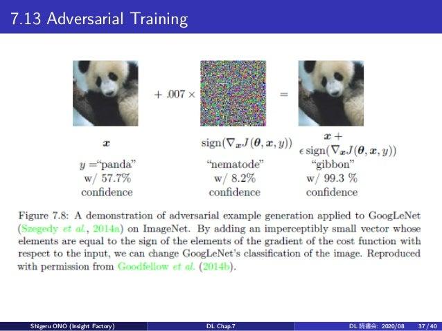 7.13 Adversarial Training Shigeru ONO (Insight Factory) DL Chap.7 DL 読書会: 2020/08 37 / 40