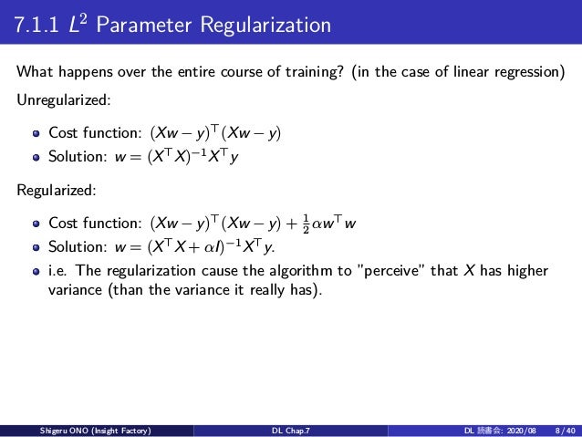 7.1.1 L2 Parameter Regularization What happens over the entire course of training? (in the case of linear regression) Unre...