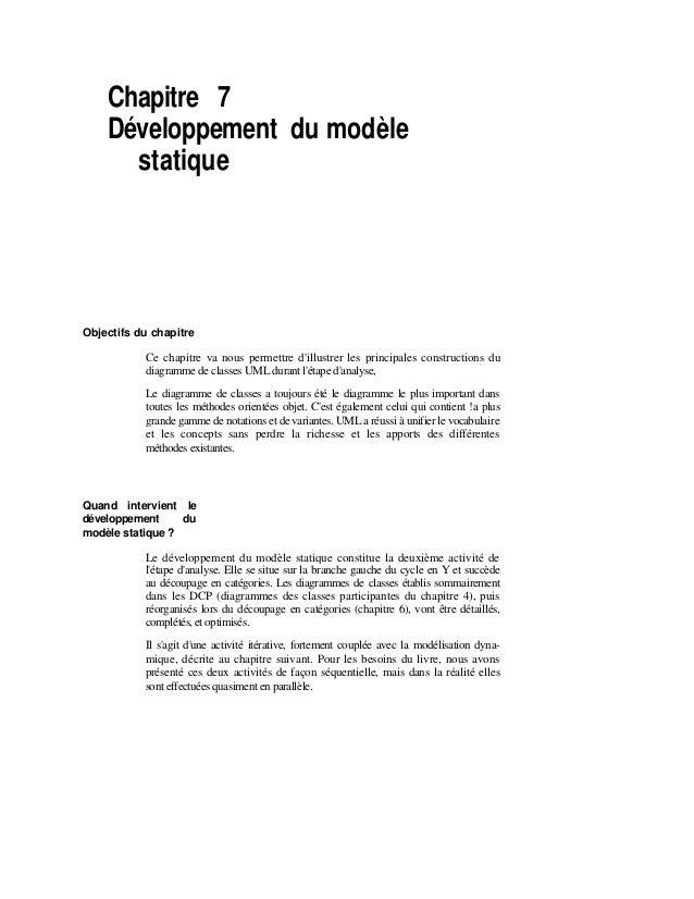Chapitre 7 Développement du modèle statique Objectifs du chapitre Ce chapitre va nous permettre d'illustrer les principale...
