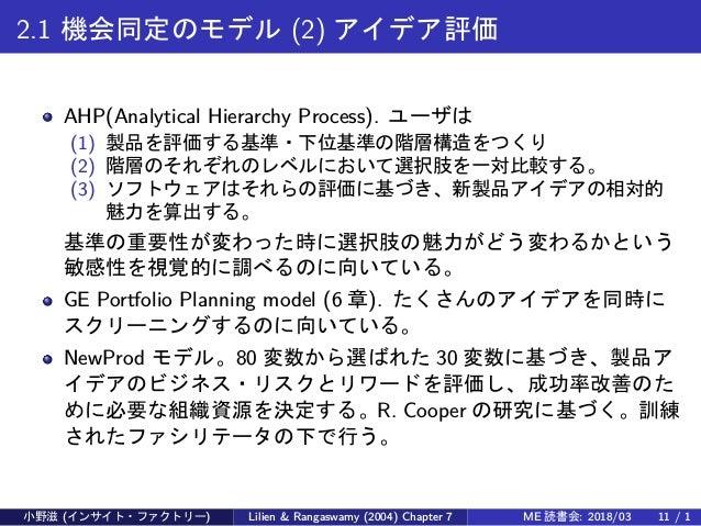 2.1 機会同定のモデル (2) アイデア評価 AHP(Analytical Hierarchy Process). ユーザは (1) 製品を評価する基準・下位基準の階層構造をつくり (2) 階層のそれぞれのレベルにおいて選択肢を一対比較する。...