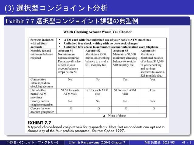 (3) 選択型コンジョイント分析 Exhibit 7.7 選択型コンジョイント課題の典型例 小野滋 (インサイト・ファクトリー) Lilien & Rangaswamy (2004) Chapter 7 ME 読書会: 2018/03 41 /...