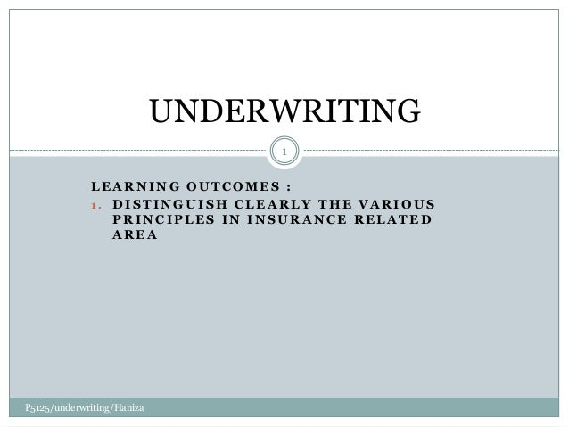 Chap 8 Underwriting