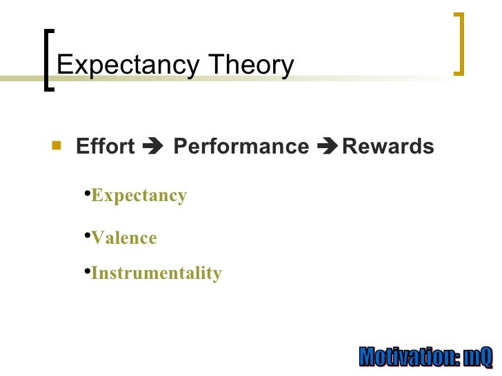 expectancy instrumentality valence theory of motivation Expectancy theory the expectancy theory of motivation has become a commonly accepted theory for explaining how mf = expectancy x instrumentality x valence.
