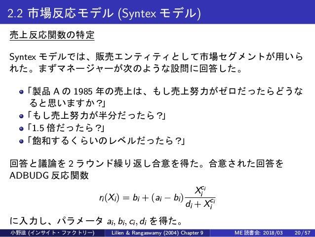 2.2 市場反応モデル (Syntex モデル) 売上反応関数の特定 Syntex モデルでは、販売エンティティとして市場セグメントが用いら れた。まずマネージャーが次のような設問に回答した。 「製品 A の 1985 年の売上は、もし売上努力...