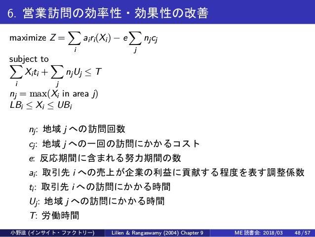 6. 営業訪問の効率性・効果性の改善 maximize Z = ∑ i airi(Xi) − e ∑ j njcj subject to∑ i Xiti + ∑ j njUj ≤ T nj = max(Xi in area j) LBi ≤ X...