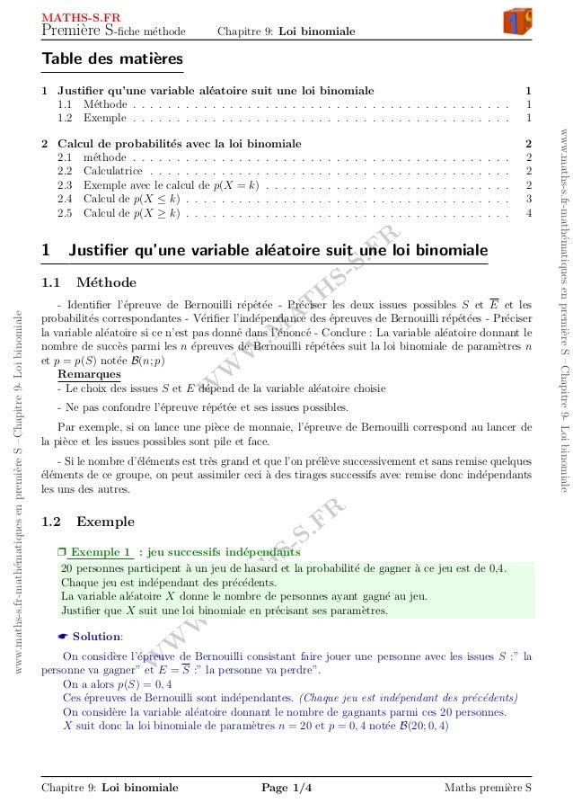 W W W .M AT H S-S.FR W W W .M AT H S-S.FR www.maths-s.fr-math´ematiquesenpremi`ereS–Chapitre9-Loibinomiale www.maths-s.fr-...