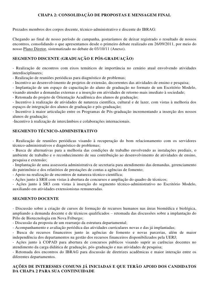 CHAPA 2: CONSOLIDAÇÃO DE PROPOSTAS E MENSAGEM FINALPrezados membros dos corpos docente, técnico-administrativo e discente ...