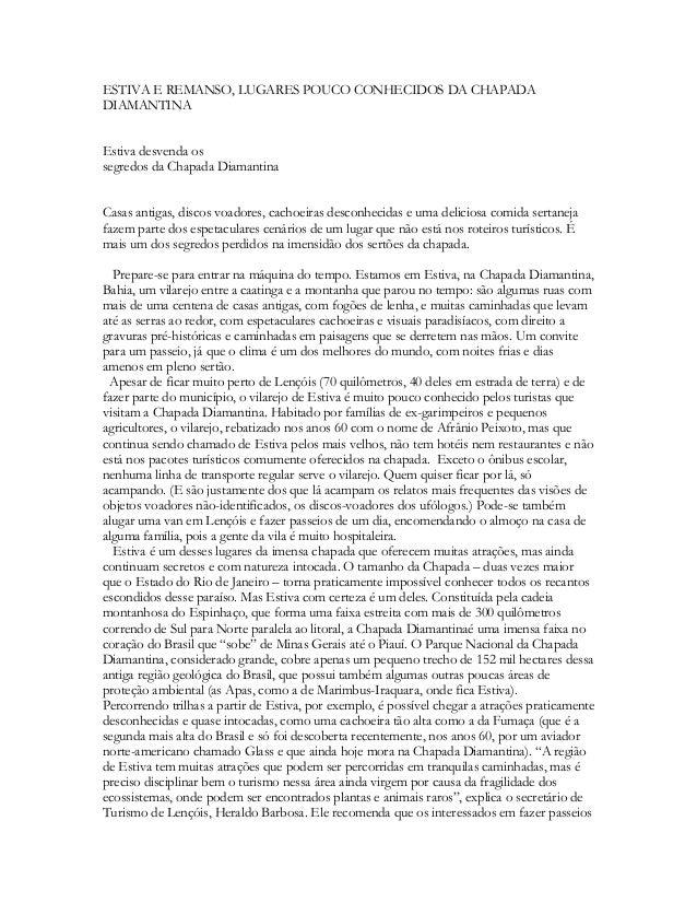 ESTIVA E REMANSO, LUGARES POUCO CONHECIDOS DA CHAPADA DIAMANTINA Estiva desvenda os segredos da Chapada Diamantina Casas a...
