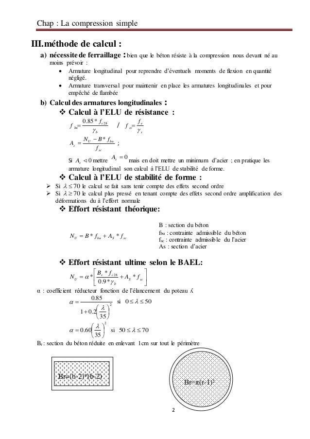 Chap compression simple 1 - Calcul quantite beton ...
