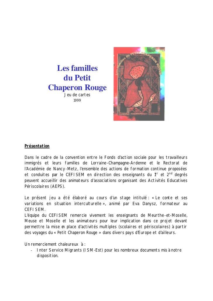 Les familles               du Petit            Chaperon Rouge                    Jeu de cartes                         199...