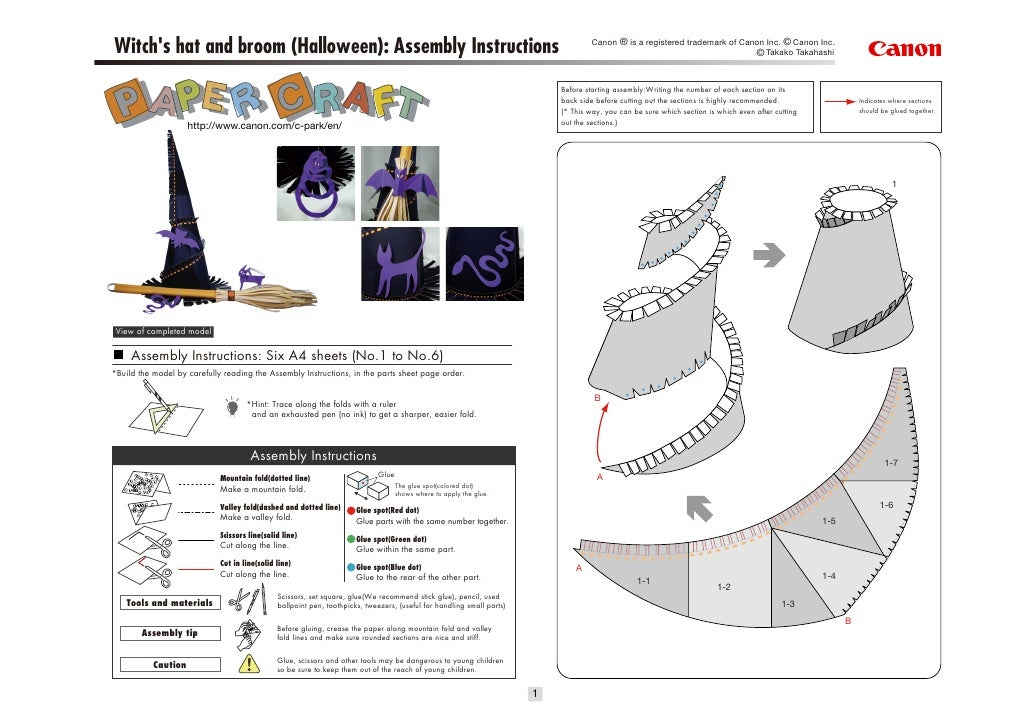 Canon ® is a registered trademark of Canon Inc. © Canon Inc.Witchs hat and broom (Halloween): Assembly Instructions       ...