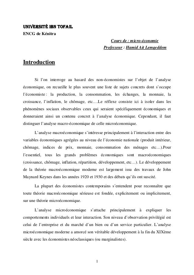 1 UNIVERSITÉ IBN TOFAILUNIVERSITÉ IBN TOFAILUNIVERSITÉ IBN TOFAILUNIVERSITÉ IBN TOFAIL ENCG de Kénitra Cours de : micro-éc...