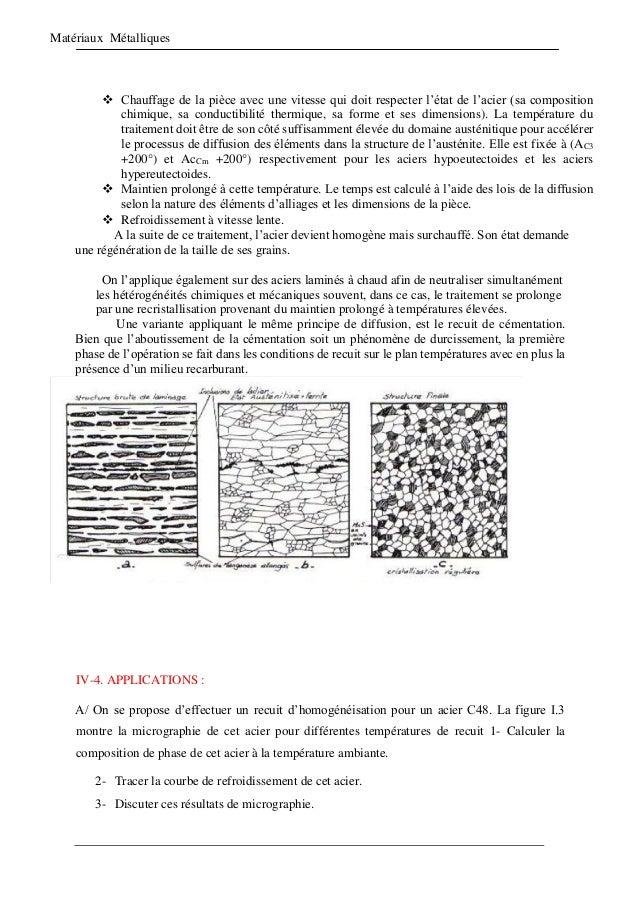 Matériaux Métalliques  Chauffage de la pièce avec une vitesse qui doit respecter l'état de l'acier (sa composition chimiq...
