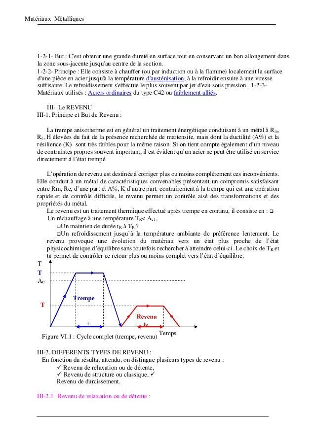 Matériaux Métalliques 1-2-1- But : C'est obtenir une grande dureté en surface tout en conservant un bon allongement dans l...