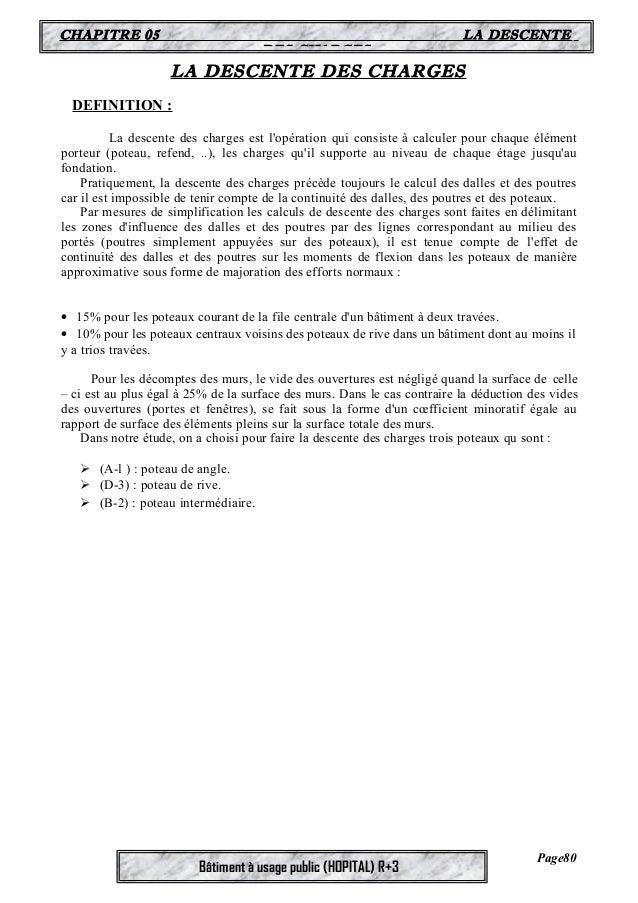 CHAPITRE 05 LA DESCENTE  DES CHARGES  LA DESCENTE DES CHARGES  Bâtiment à usage public (HOPITAL) R+3  DEFINITION :  La des...