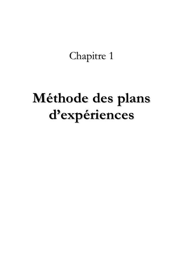 Chapitre 1Méthode des plans d'expériences