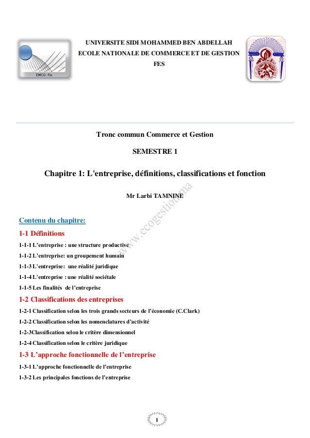 1 Tronc commun Commerce et Gestion SEMESTRE 1 Chapitre 1: L'entreprise, définitions, classifications et fonction Mr Larbi ...