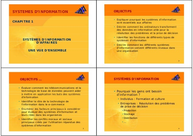 SYSTEMES D'INFORMATION         D INFORMATION                                    OBJECTIFS                                 ...