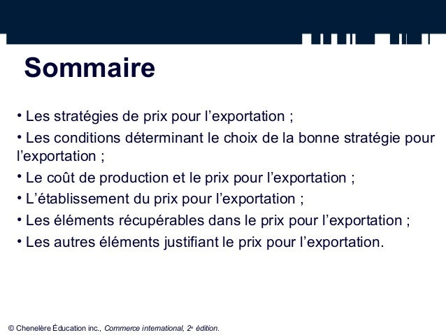 Calcul De Prix A L Exportation