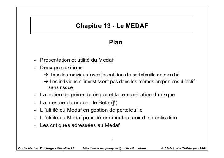 Chapitre 13 - Le MEDAF                                                         Plan          w   Présentation et utilité d...