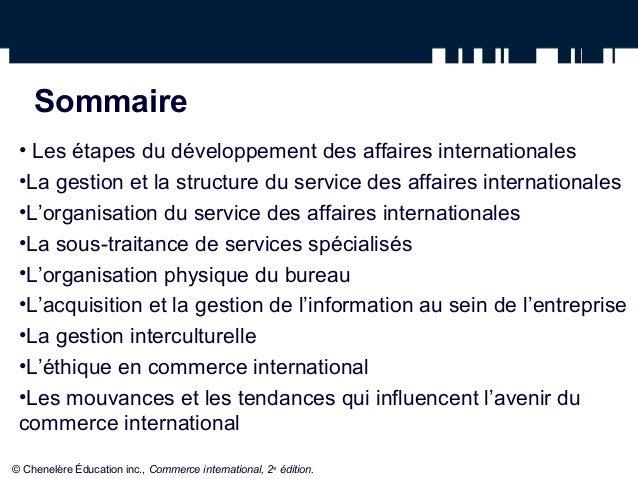 la gestion du service international