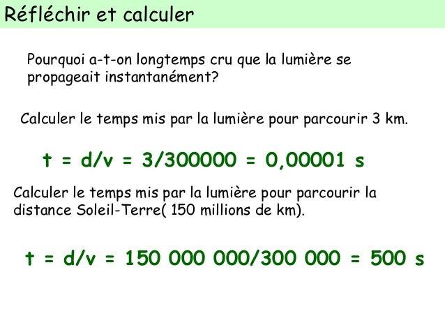 calcul vitesse de la lumiere