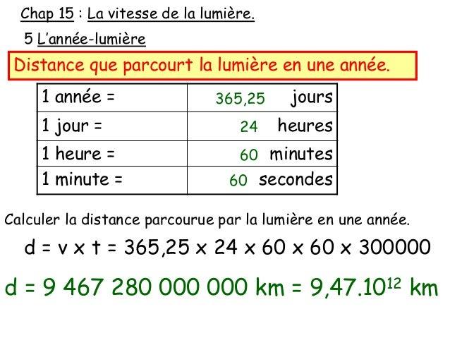 calcul de la vitesse de la lumiere