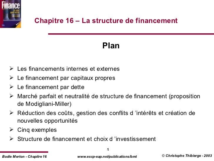 Chapitre 16 – La structure de financement                                       Plan     Les financements internes et ex...