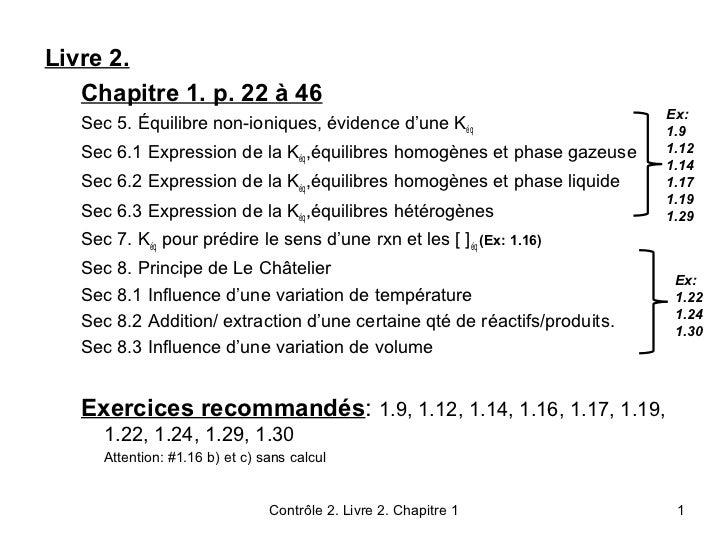 Livre 2.   Chapitre 1. p. 22 à 46                                                                           Ex:   Sec 5. É...
