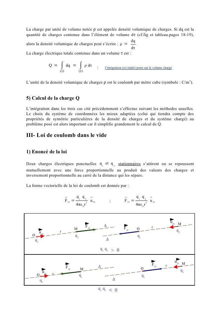 Chapitre 1 loi de coulomb et champ lectrostatique - Calcul de metre carre ...