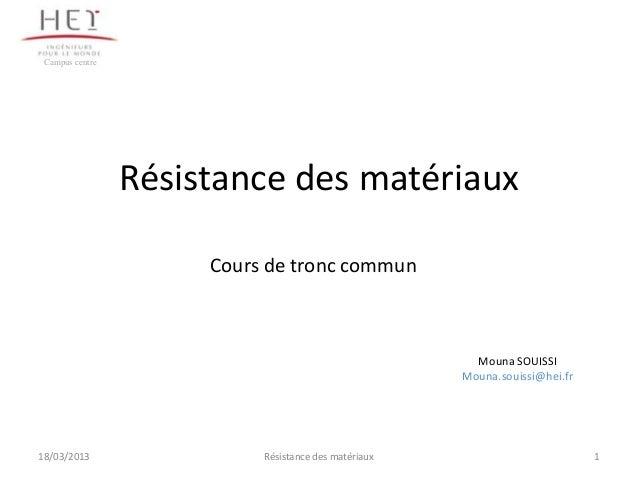 Campus centre                 Résistance des matériaux                      Cours de tronc commun                         ...