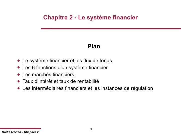 Chapitre 2 - Le système financier                                           Plan             Le système financier et les ...